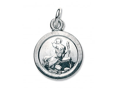 Sterling Silver Small Round St Christopher