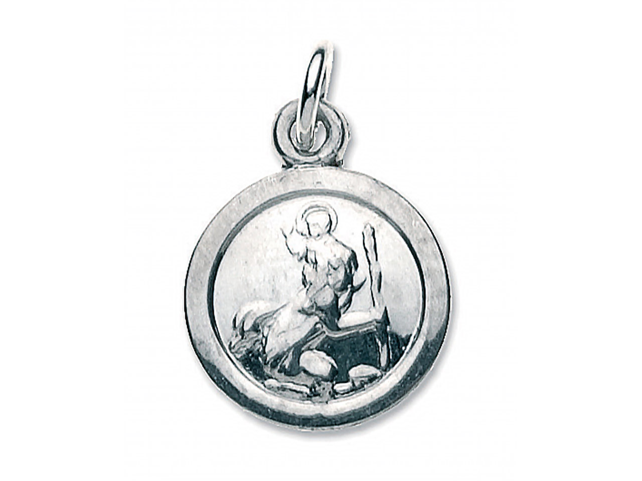 Sterling Silver St. Christopher,   Small Round