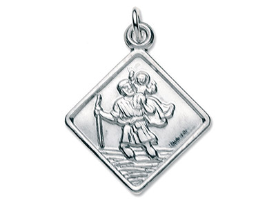 Sterling Silver Small Square St Christopher