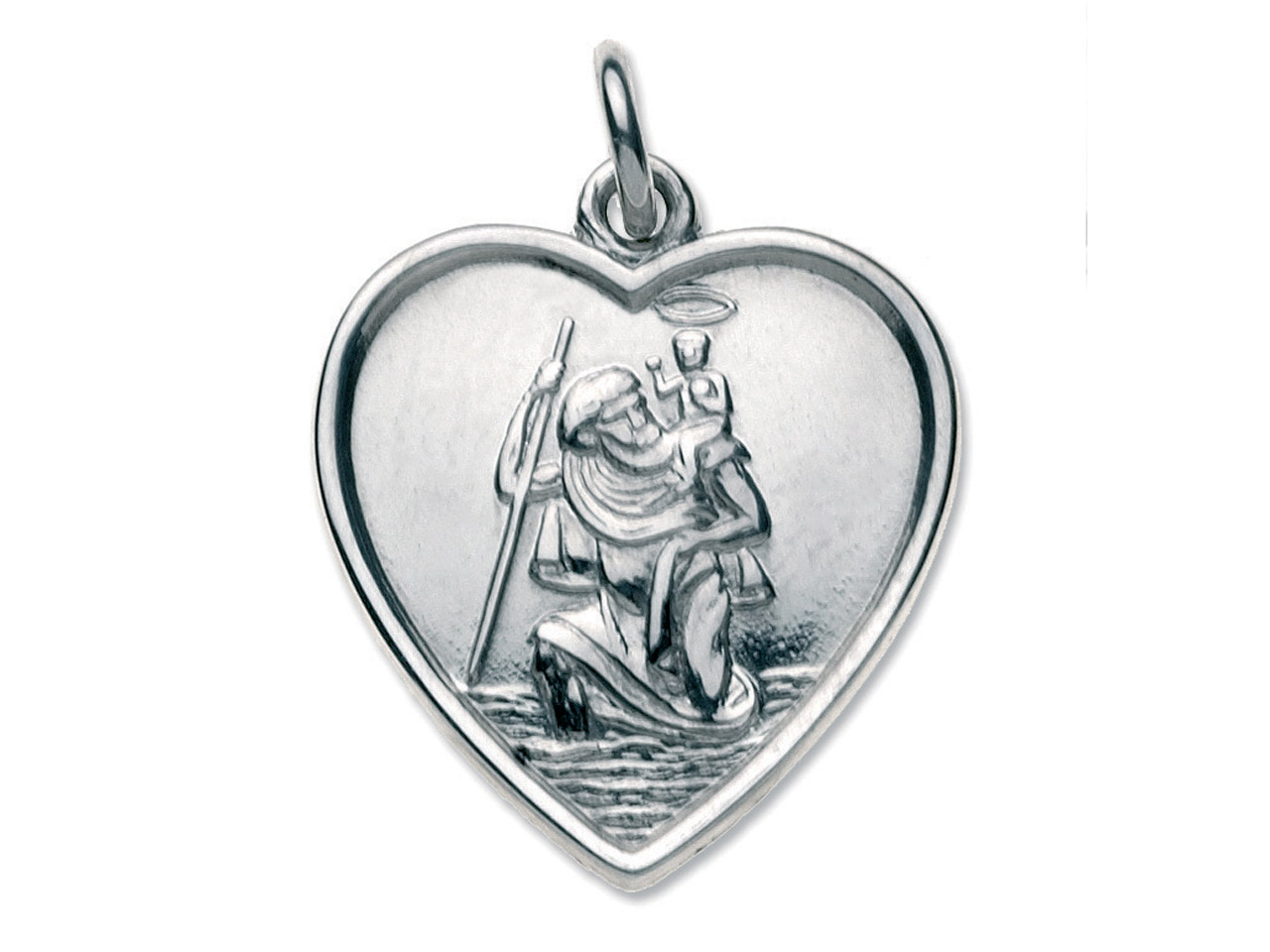 Sterling Silver St. Christopher,   Heart