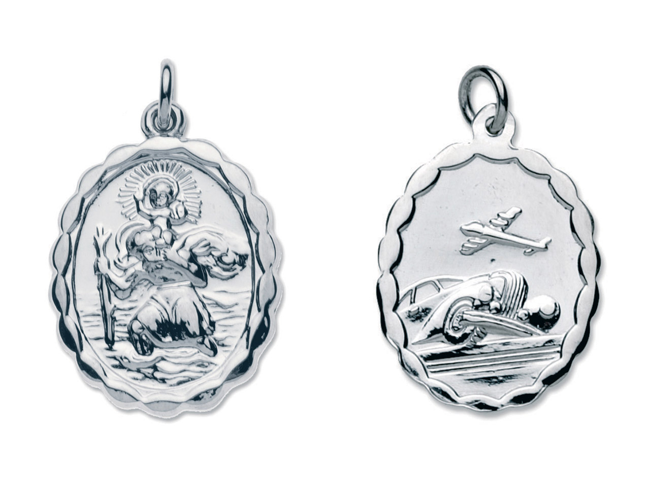 Sterling Silver St. Christopher,   Oval, Reversible