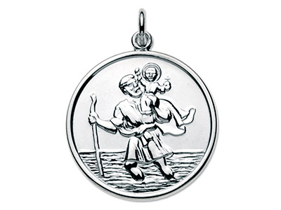 Sterling Silver Large Round St Christopher