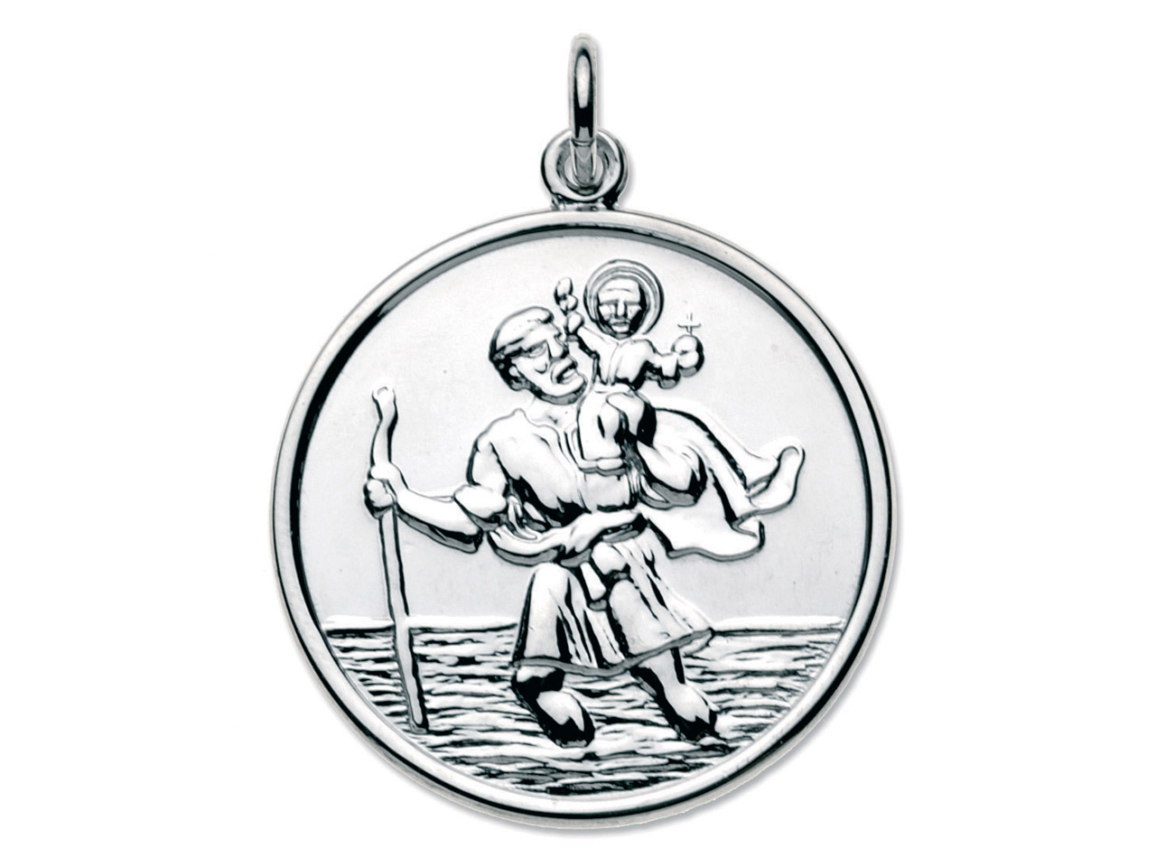 Sterling Silver St. Christopher,   Large Round