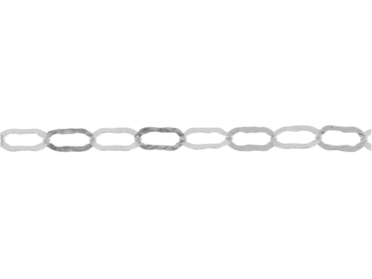 Sterling Silver Chain, Planished   Flat Oval Links Are 11x6mm, Loose