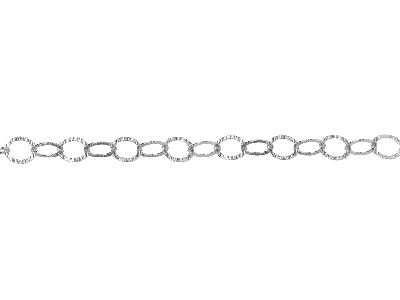 Sterling Silver 11.0mm Loose Round Trace Chain Hammered Links