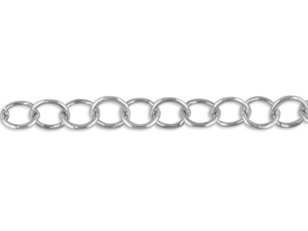 Sterling Silver 9.5mm Round Link   Chain, Loose