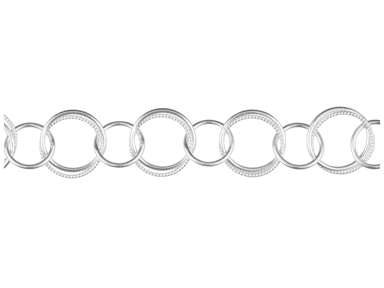 Sterling Silver Round Twisted And  Plain, 13mm And 10mm, 1.0mm Wire,  Loose