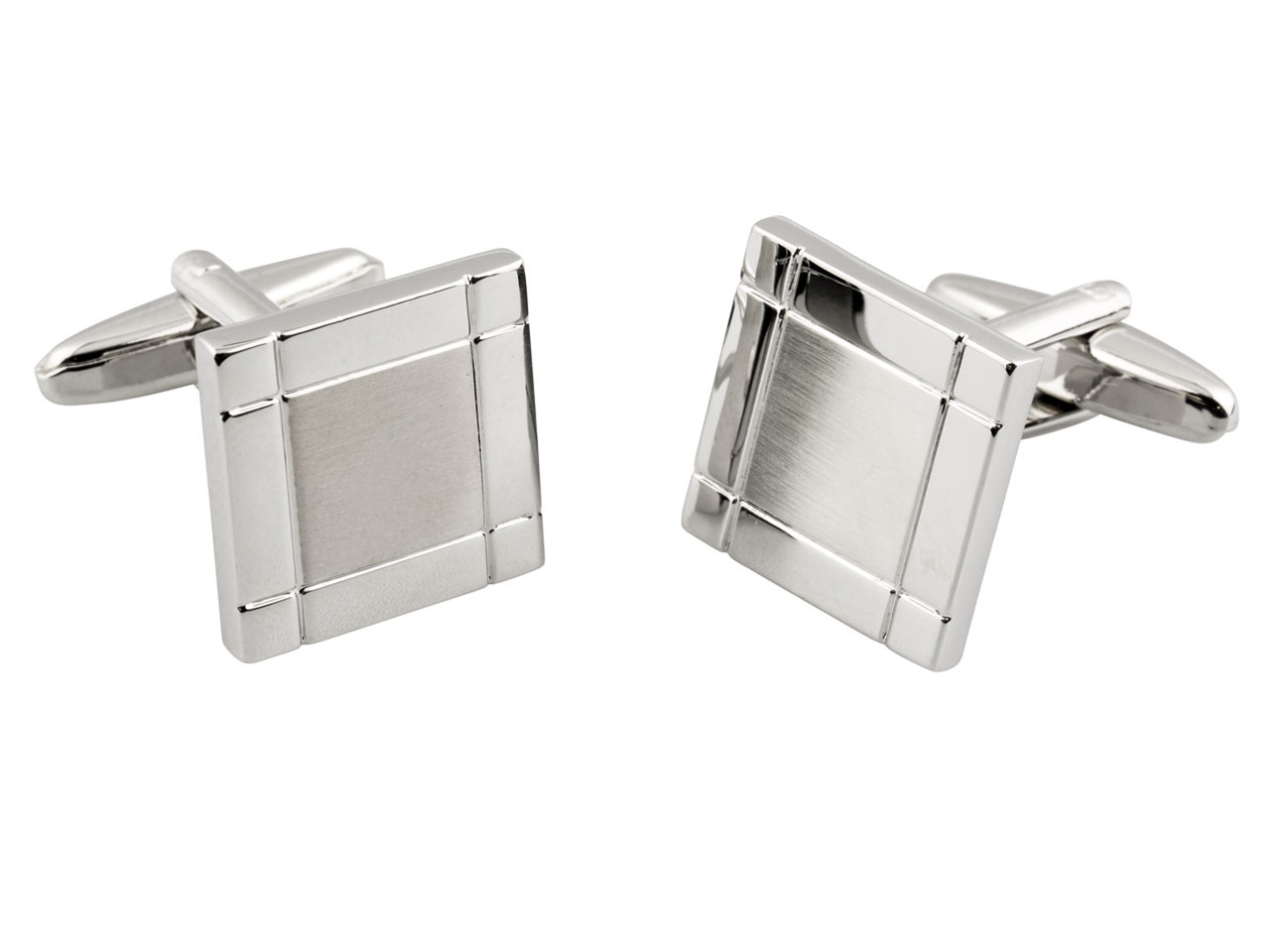 Square Cuff Link With Matte        Finished Centre, Rhodium Plated    Brass