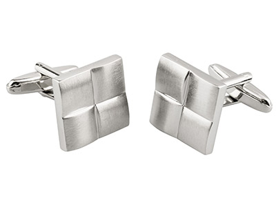 Quarter Sections Square Cuff Link  Rhodium Plated Brass