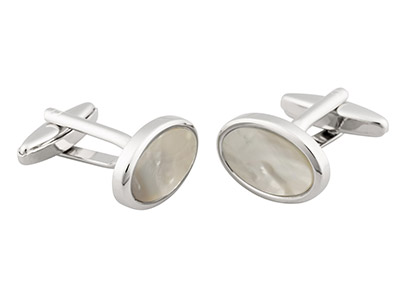 Oval Cufflink With White           Mother of Pearl Rhodium Plated     Brass
