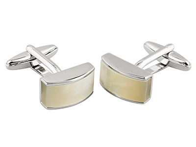 Domed Cuff Link With White         Mother of Pearl Rhodium Plated     Brass