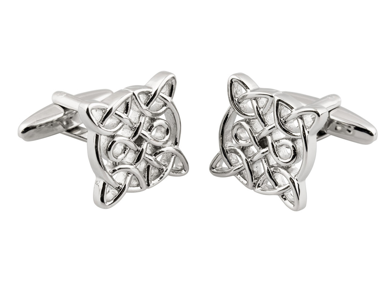 Square Celtic Cuff Link            Rhodium Plated Brass