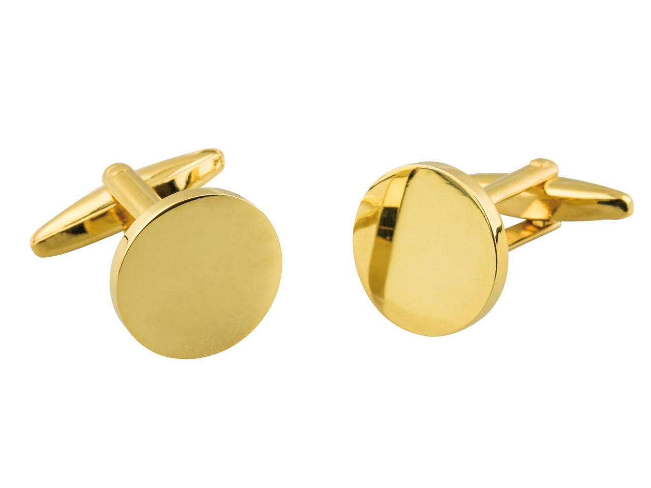 Round Gold Plated Brass Cuff Link  Engravable