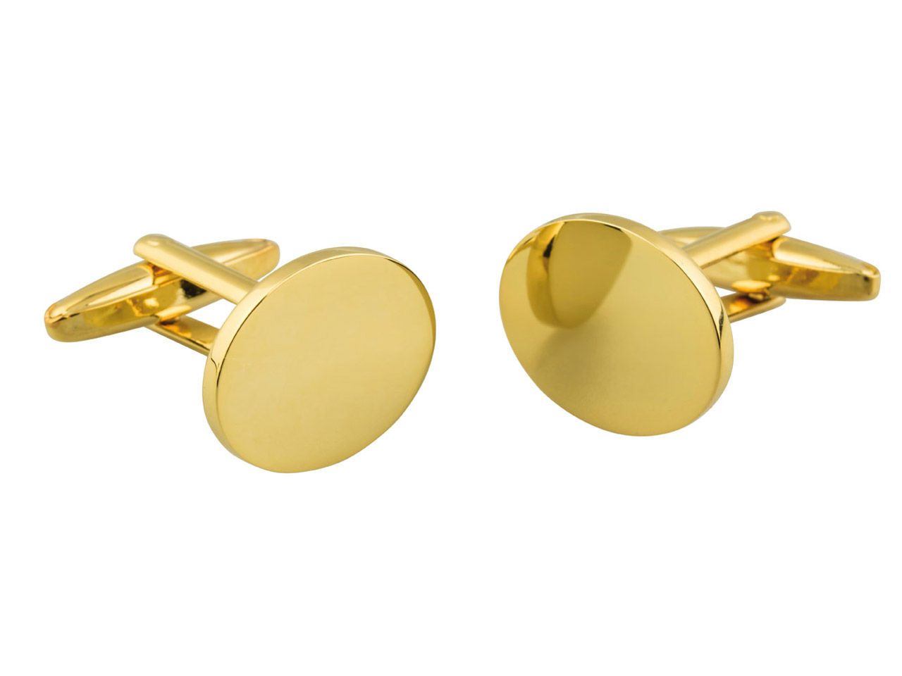 Oval Gold Plated Brass Cuff Link   Engravable