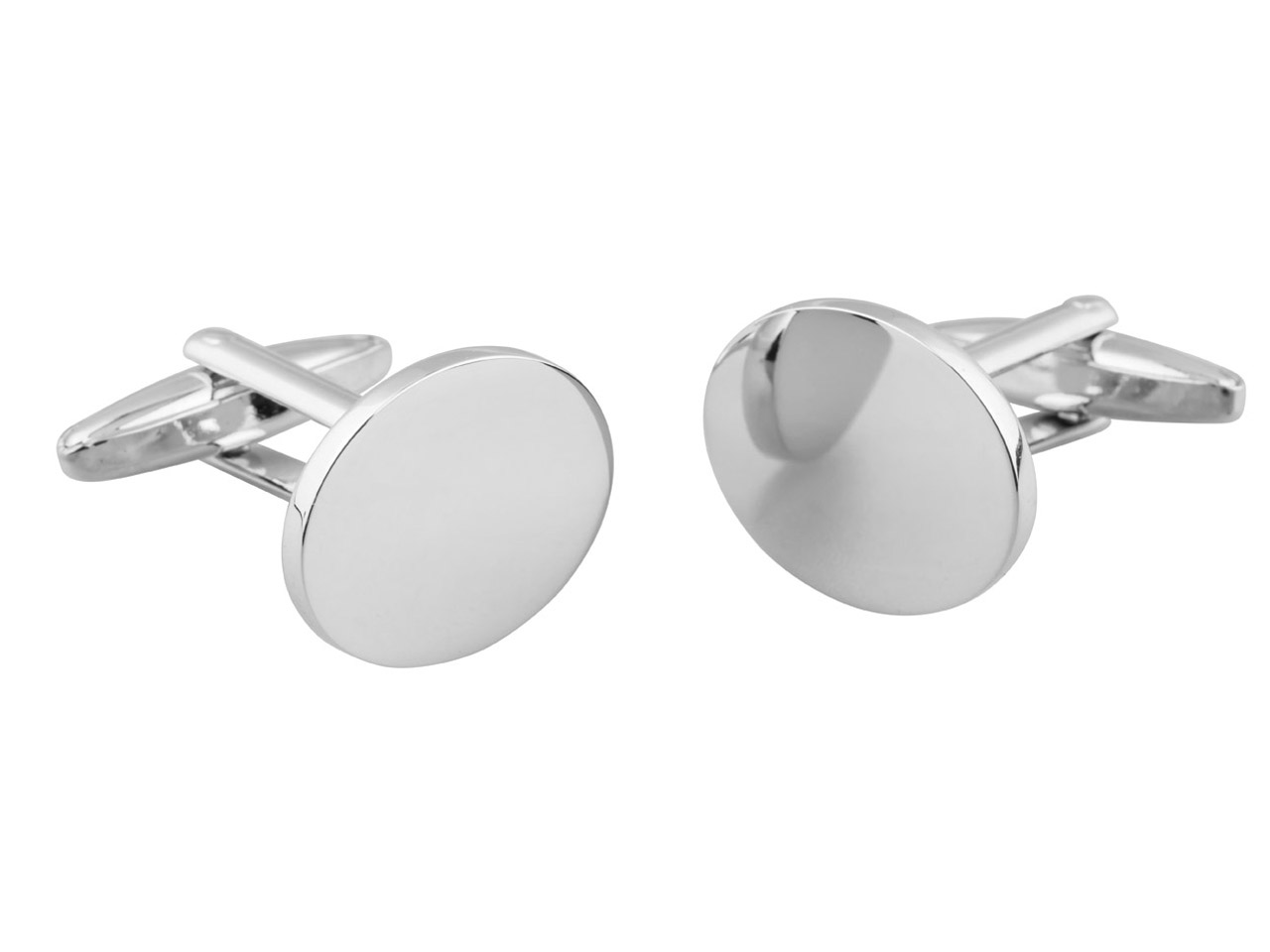 Oval Rhodium Plated Brass Cuff Link Engravable
