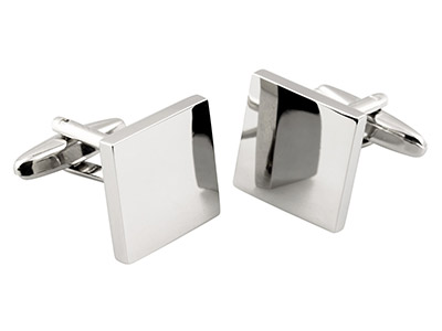 Square Rhodium Plated Brass        Cuff Link Engravable