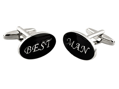 Oval Best Man Wedding Cuff Link    Black Enamel, Rhodium Plated Brass