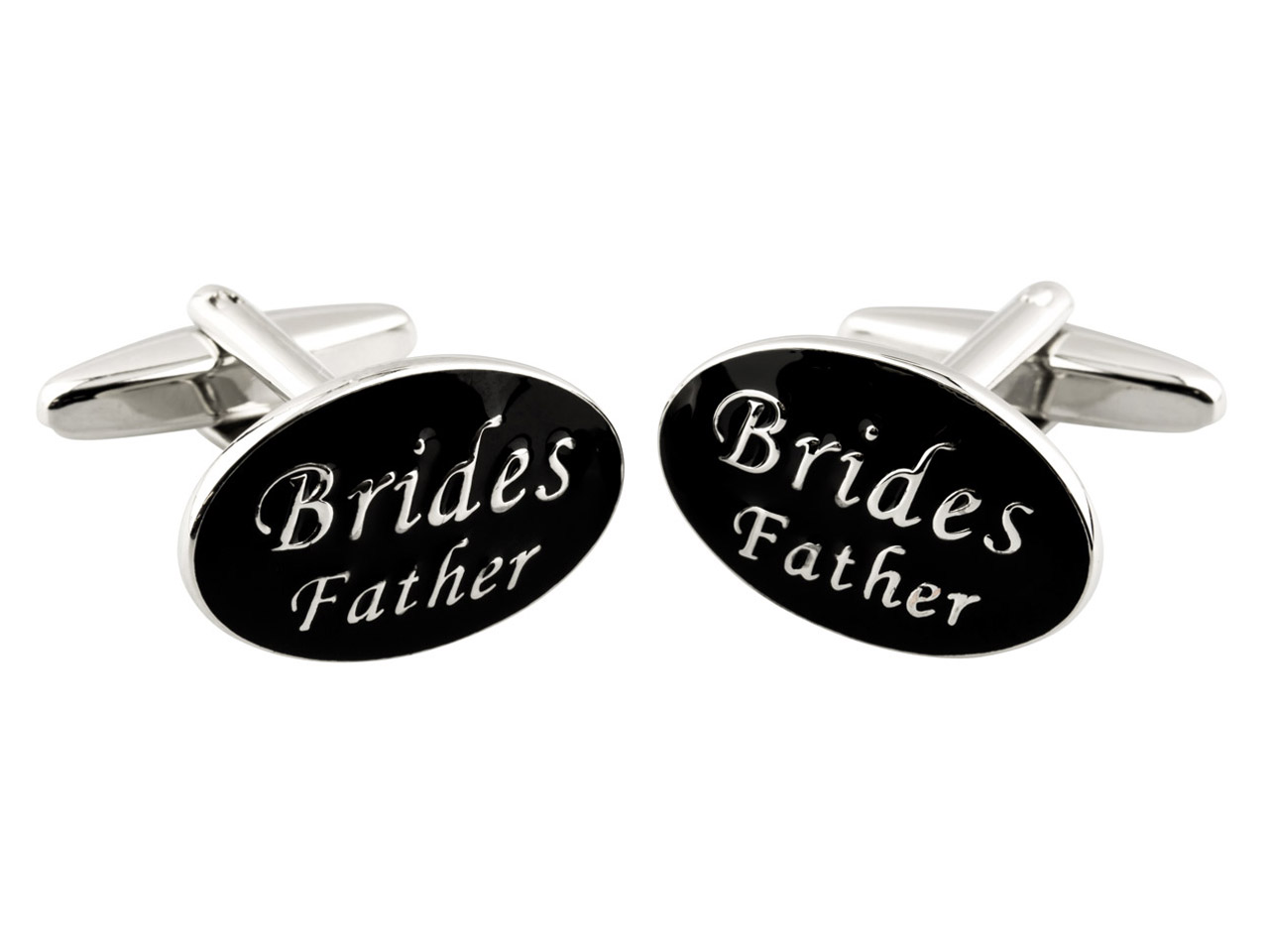 Oval Brides Father Wedding         Cuff Link Black Enamel,            Rhodium Plated Brass