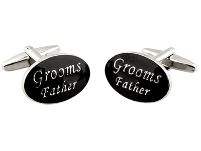 Oval Grooms Father Wedding Cufflink Black Enamel, Rhodium Plated Brass