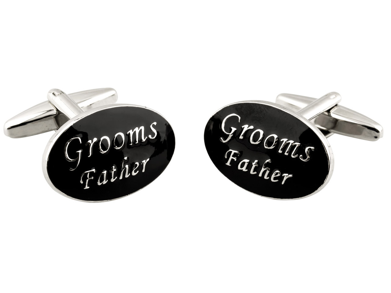 Oval Grooms Father Wedding         Cuff Link Black Enamel,            Rhodium Plated Brass
