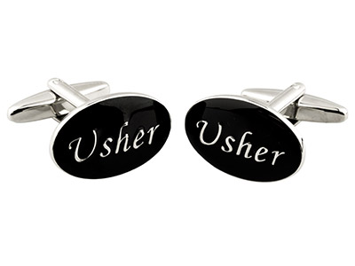 Oval Usher Wedding Cufflink Black  Enamel, Rhodium Plated Brass