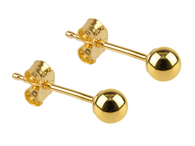 9ct Yellow Gold Pair 3mm           Light Weight Ball Studs