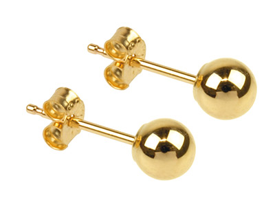 9ct Yellow Gold Pair 4mm           Light Weight Ball Studs