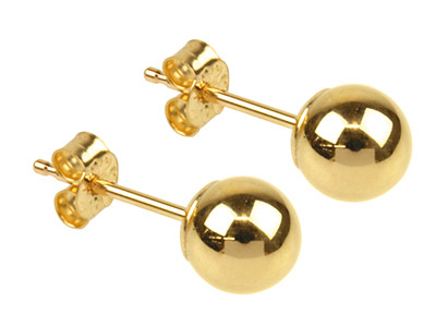 9ct Yellow Gold Pair 5mm           Light Weight Ball Studs