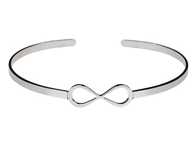 Sterling Silver Infinity Style     Torque Bangle