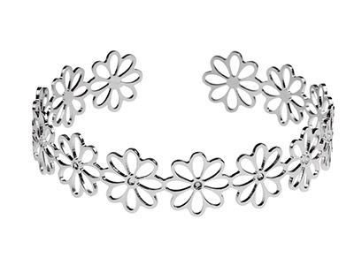 Sterling Silver Daisy Filigree     Torque Bangle With White Crystals
