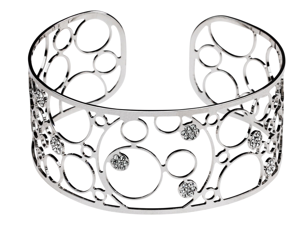Sterling Silver Circles Filigree   Cuff Bangle With White Crystals