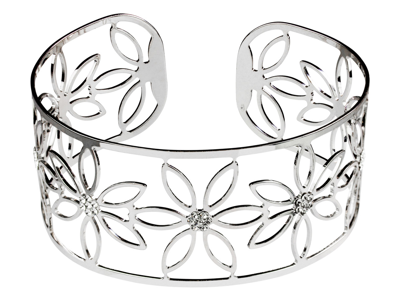 Sterling Silver Flower Design      Filigree Cuff Bangle With White    Crystals