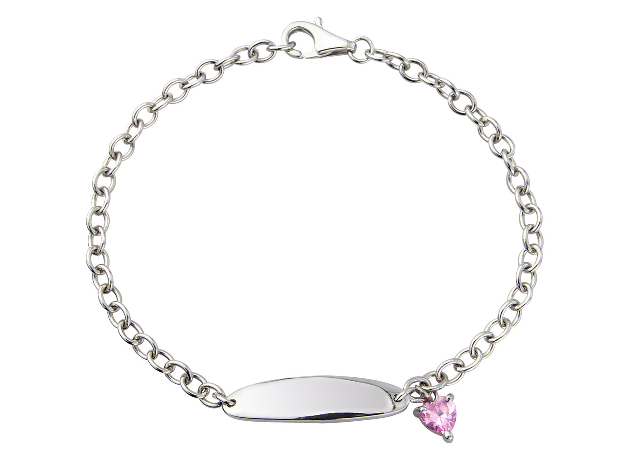 Sterling Silver Pink Cubic Zirconia Heart Bracelet Childs Can Be        Engraved