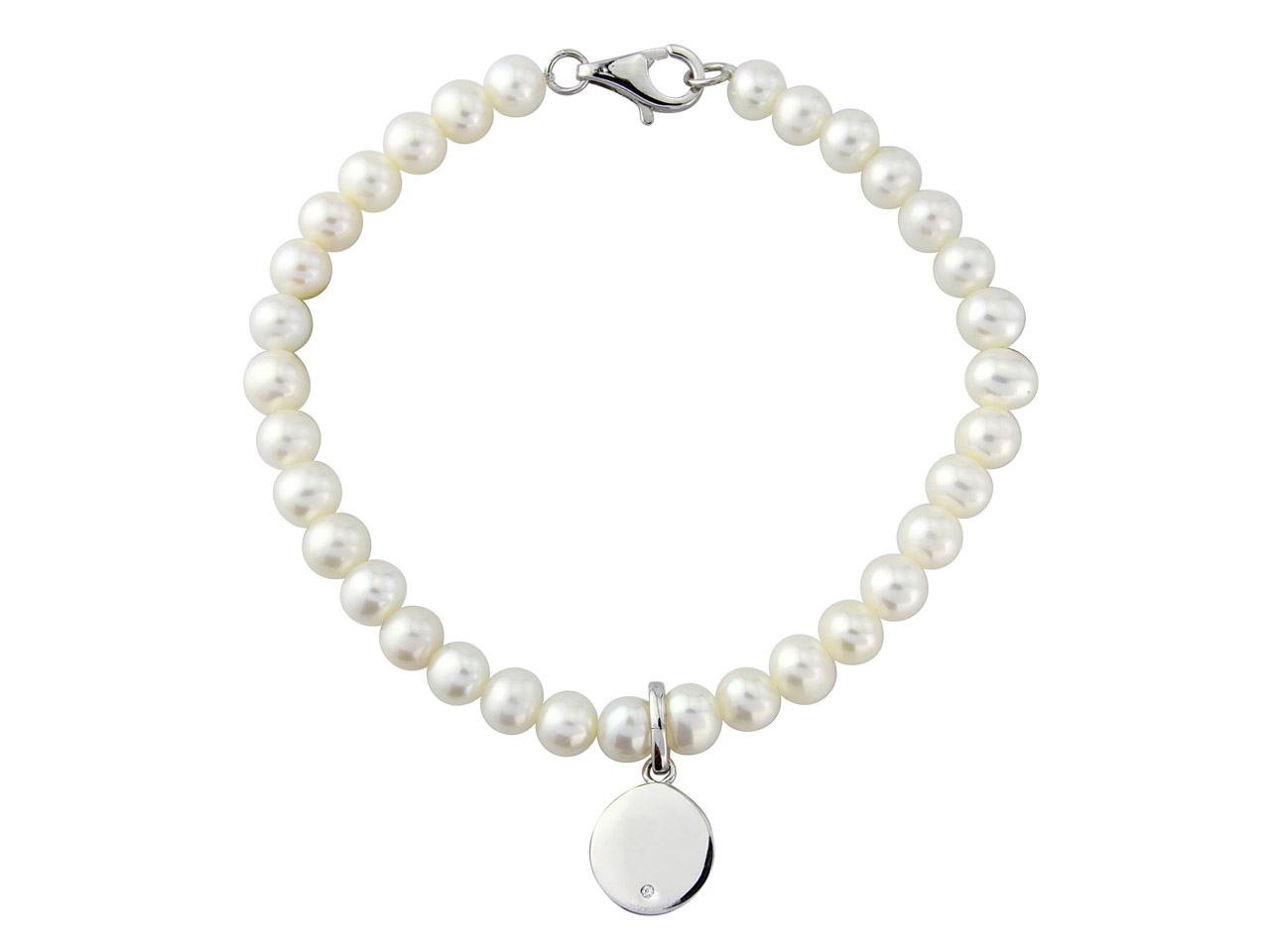 Sterling Silver Pearl              Cubic Zirconia Bracelet With       Engraveable Disc
