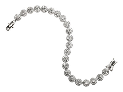 Sterling Silver Halo Link Bracelet Set With Cz, 7.518.5cm