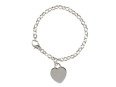 Sterling Silver Bracelet With Plain Heart Charm, 7.519cm, Engravable