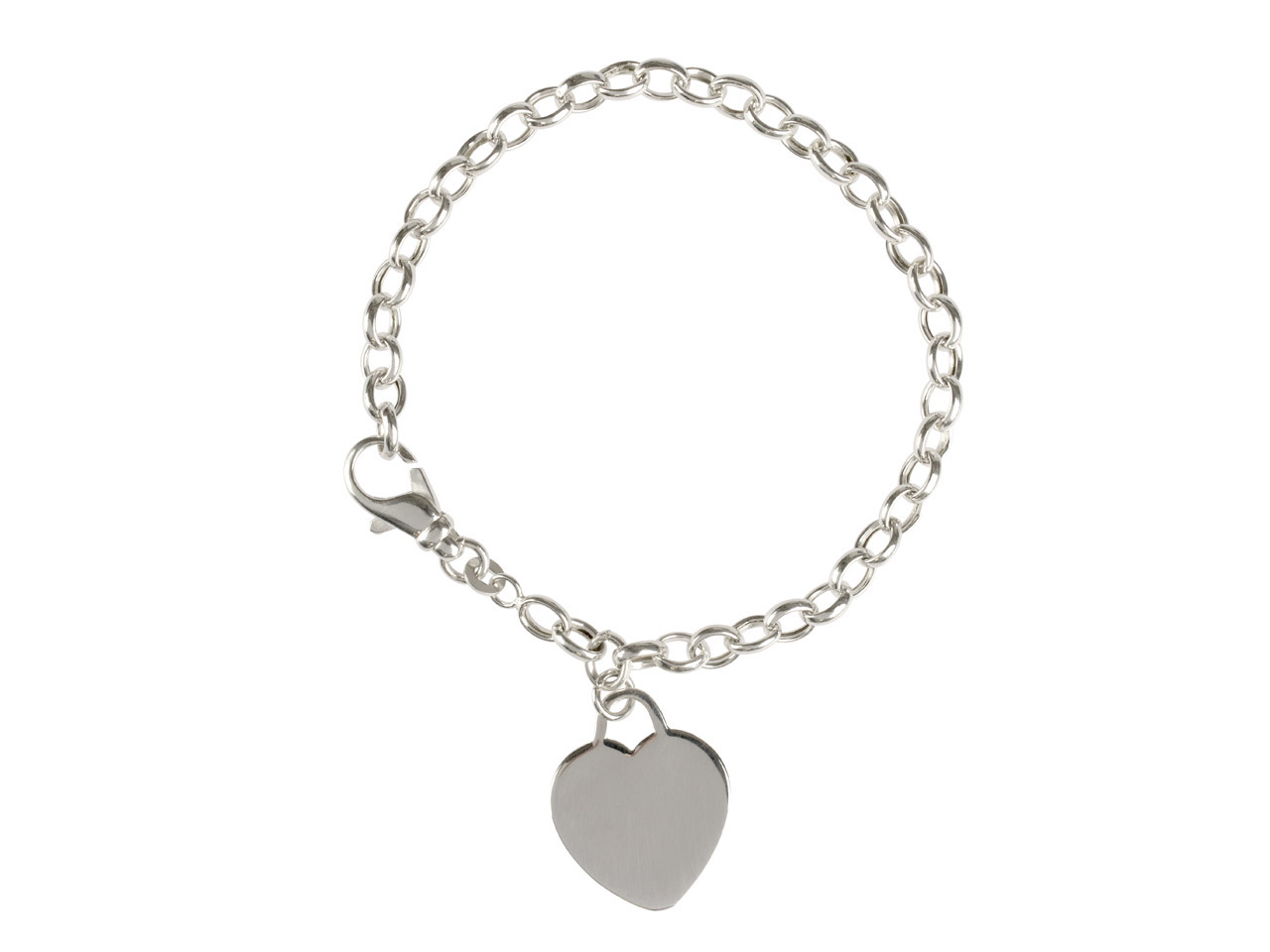 Sterling Silver Bracelet With Plain Heart Charm, 7.5