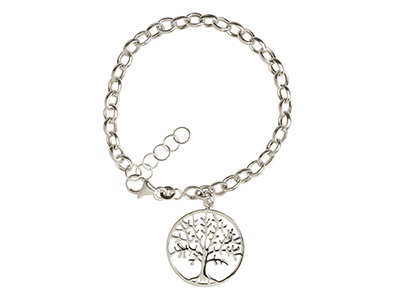 Sterling Silver Bracelet With Tree Of Life Charm, 7.519cm