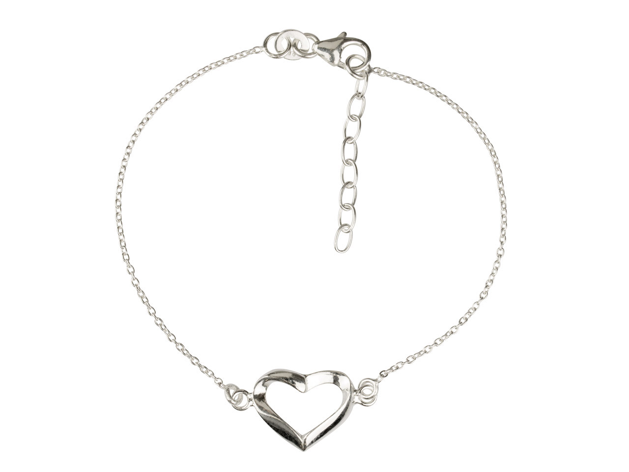 Sterling Silver Bracelet With Heart Locator, 7.5