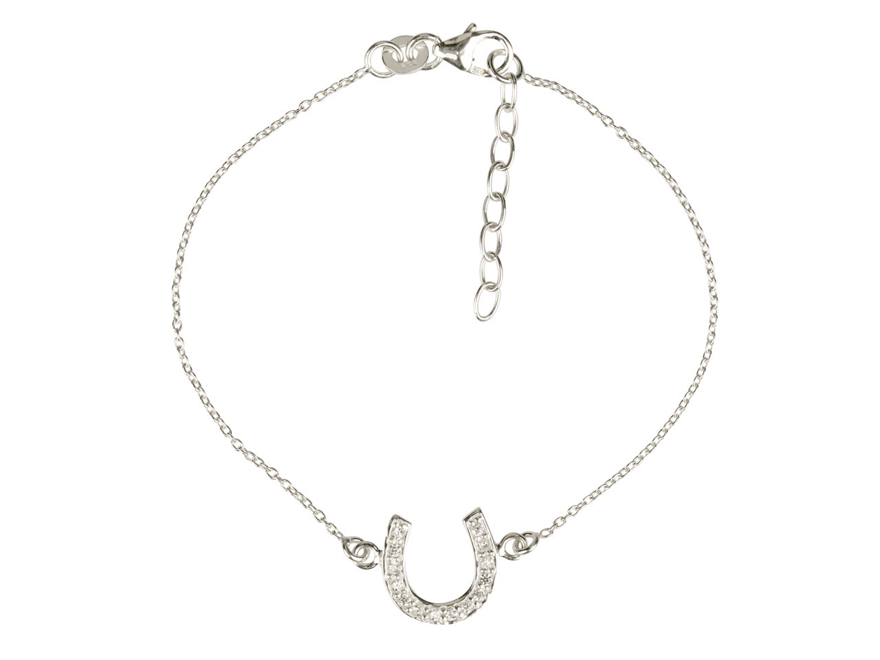 Sterling Silver Bracelet With      Cubic Zirconia Set Horseshoe       Locator, 7.5