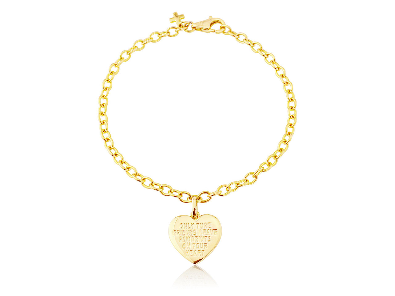 Sterling Silver Gold Plated         Bracelet With Heart Charm And       Cubic Zirconia Set Paw Print Detail Can Be Engraved 7.5