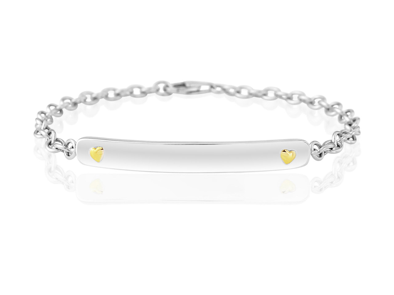 Sterling Silver 9ct Yellow Identity Bracelet With Heart Detail Can Be   Engraved 7