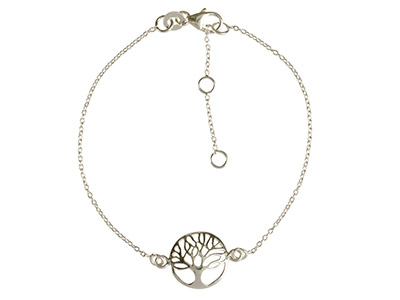 Sterling Silver Bracelet With Tree Of Life Locator, 7.519cm