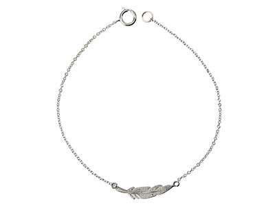 Sterling Silver Feather Design     Bracelet