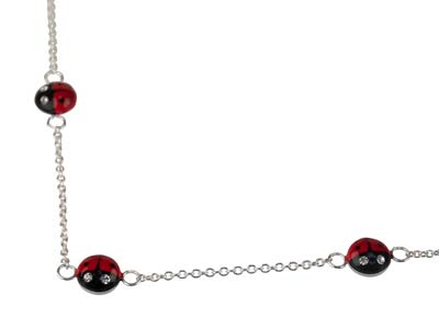 Sterling Silver Ladybird Station   Bracelet 14cm With 4cm Extension