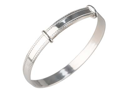 Sterling Silver Adjustable Plain   Childs Bangle
