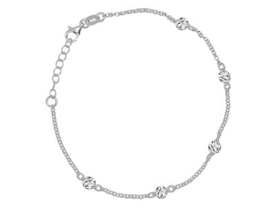 Sterling Silver Textured Satellite Design Bracelet