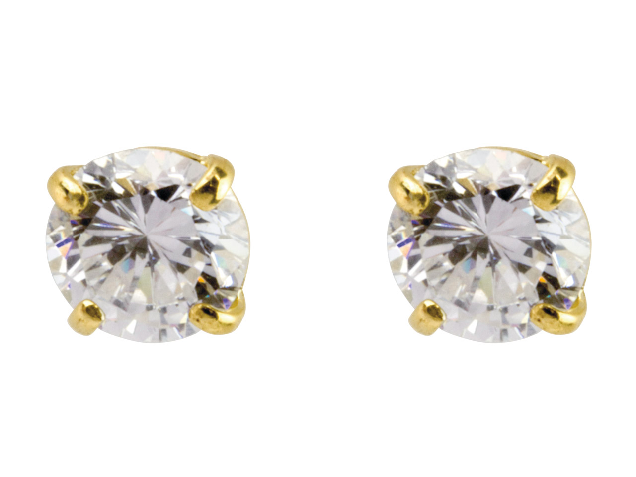 9ct Yellow Pair 5mm Cubic Zirconia Stud Earring