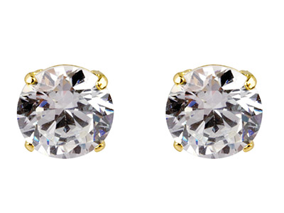 9ct Yellow Gold Pair 7mm           Cubic Zirconia Stud Earring