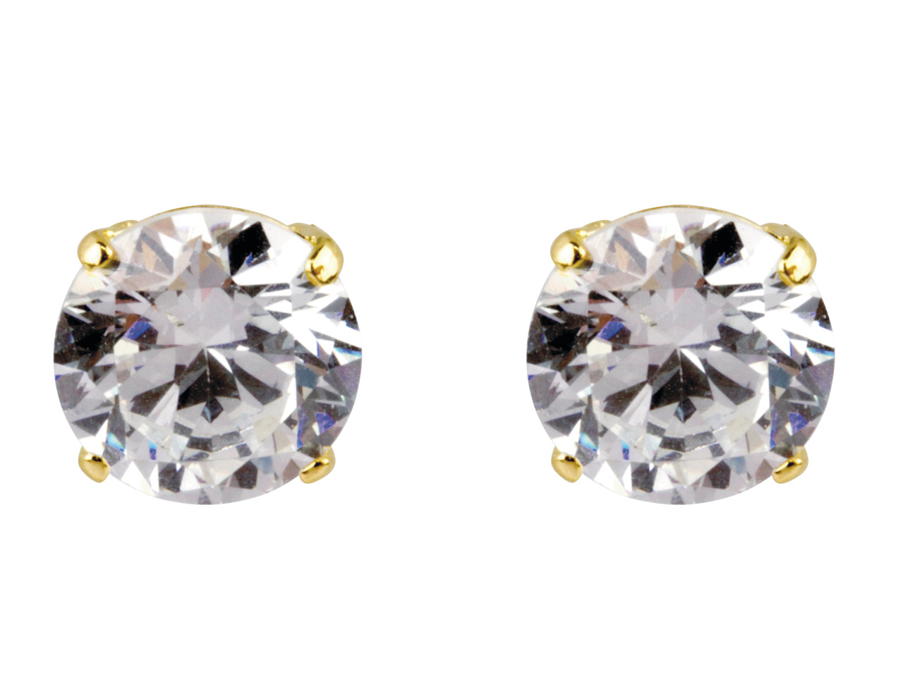 9ct Yellow Pair 7mm Cubic Zirconia Stud Earring